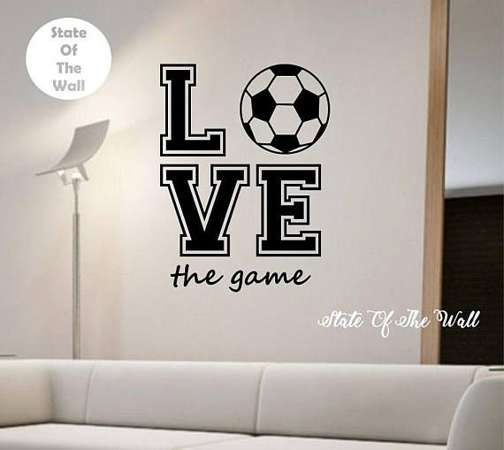 Soccer Wall Decal Love The Game Sticker Art Decor Bedroom | Wall With Soccer Wall Art (View 22 of 25)