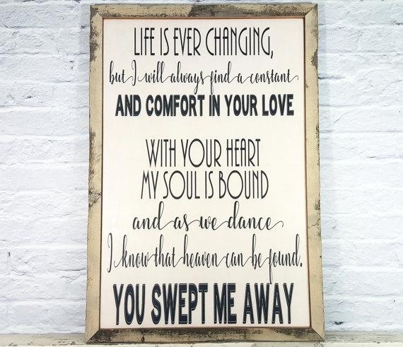 Song Lyric Art Song Lyric Wall Art Wood Sign Wedding Song In Song Lyric Wall Art (View 7 of 20)