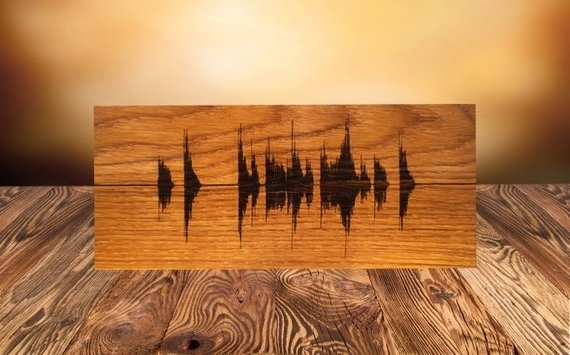 Soundwave Wall Art Custom Wood Burned Art Personalized Wooden | Etsy Within Personalized Wood Wall Art (Image 17 of 25)