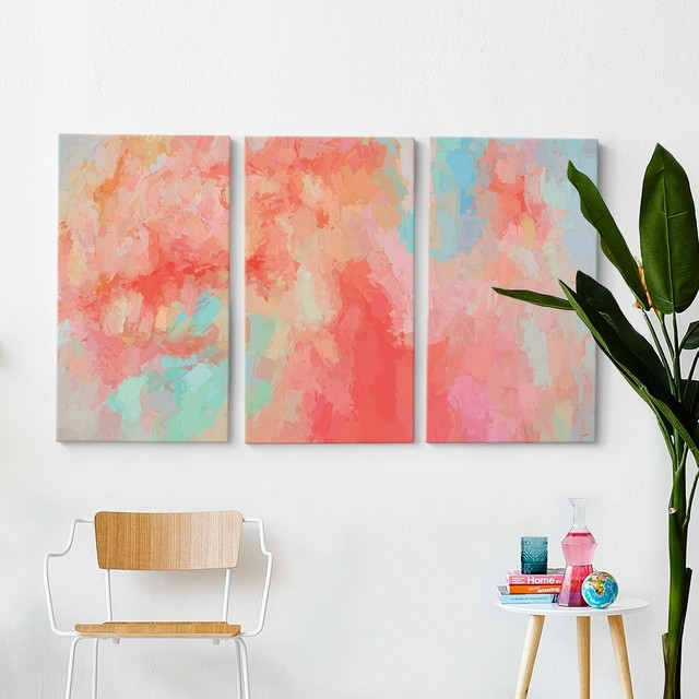 Splash Of Coral Triptych Wall Art Within Coral Wall Art (Image 23 of 25)