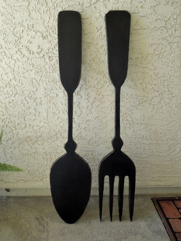 Spoon Wall Decor Oversized And Fork Big Black Colored Web Photo For Fork And Spoon Wall Art (View 12 of 25)