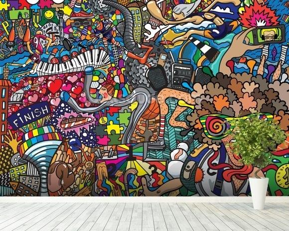 Sports – Graffiti Wallpaper Wall Mural | Wallsauce New Zealand Inside Graffiti Wall Art (View 12 of 25)