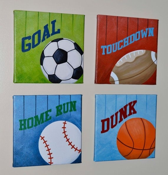 Sports Set Of 4 Gallery Wrapped Canvas Wall Art | For The Boys Intended For Sports Wall Art (View 7 of 25)