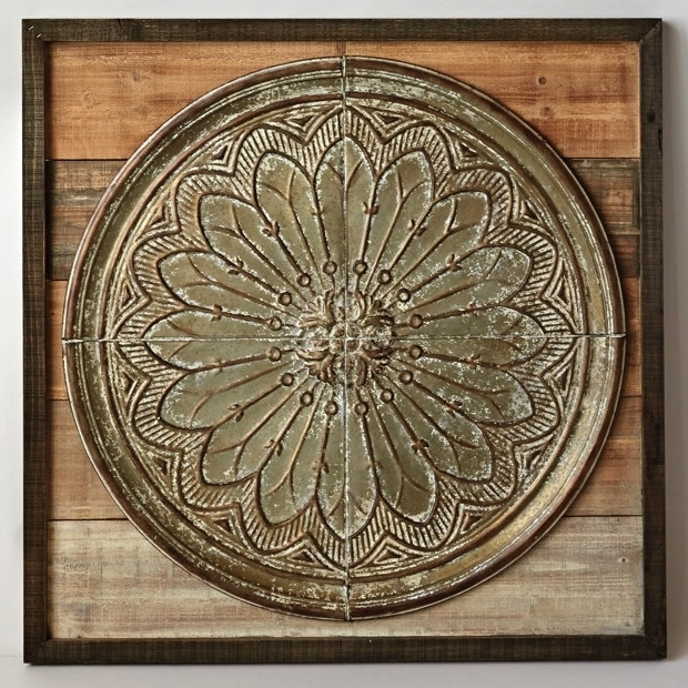 Square Wood And Embossed Tin Wall Decor | Antique Farmhouse Regarding Tin Wall Art (Image 7 of 25)