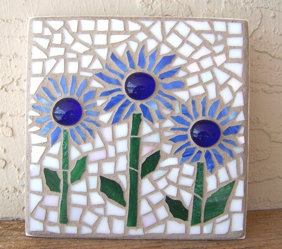 Stained Glass Mosaic Wall Art Flower Wall Hanging Daisy Wall Decor Throughout Mosaic Wall Art (View 9 of 10)