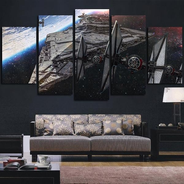 Star Wars Spaceship Destroyer | Star Wars Canvas Panel Wall Art Inside Panel Wall Art (View 15 of 25)