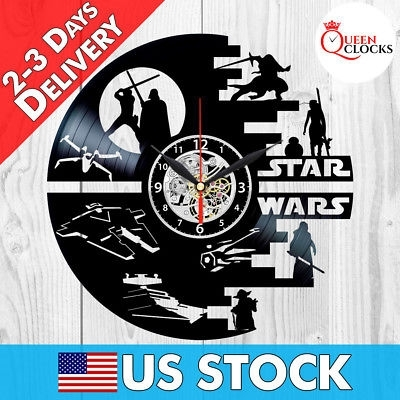 Star Wars Vinyl Clock Darth Vader Wall Art Best Yoda Gift Record Within Darth Vader Wall Art (Image 22 of 25)