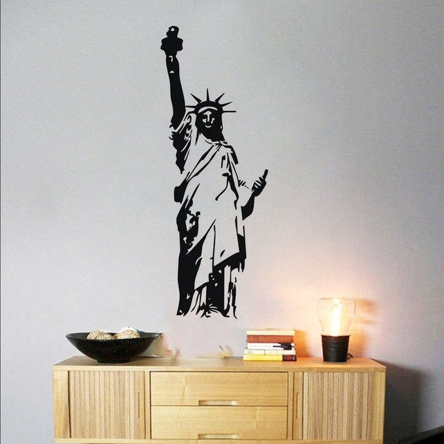Statue Of Liberty Wall Decals,silhouette Pattern Wall Sticker With Art Wall Decors (Image 18 of 25)