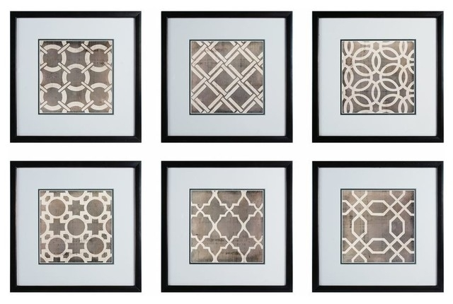 Sterling Industries Symmetry Blueprint 17X17 Framed Wall Art, Set Of Inside Wall Art Sets (Image 8 of 10)