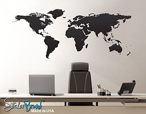 Stickerbrand Home & Office Decor Vinyl Wall Art World Map | Home Throughout Vinyl Wall Art World Map (Image 18 of 25)