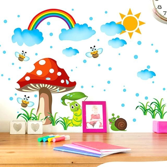Stickers For Kids Kids Wall Art Enchanting Sun Rain And Rainbow Wall With Kids Wall Art (Image 8 of 10)