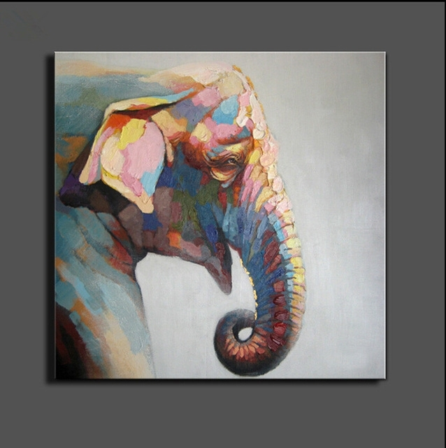 Stretched Elephant Canvas Painting Abstract Oil Painting On Canvas Within Elephant Canvas Wall Art (View 2 of 20)