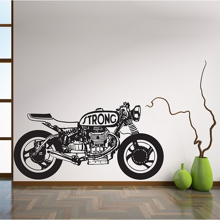 Strong Sport Motorcycle Vinyl Wall Art Decal Throughout Motorcycle Wall Art (Image 23 of 25)