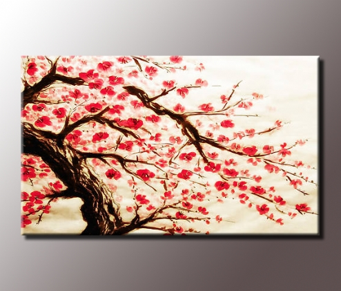 Stunning Red Cherry Blossom Painting 34X20 Inch Canvas Wall Art Print Intended For Cherry Blossom Wall Art (View 9 of 25)
