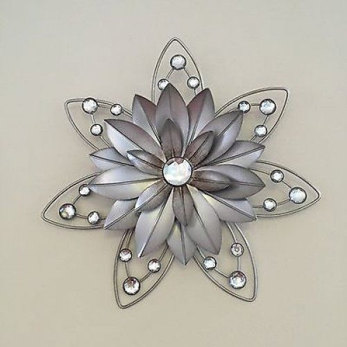 Stunning Rustic 30Cm Flower Diamante Jewelled 3D Metal Wall Art Pertaining To Silver Metal Wall Art (View 11 of 25)