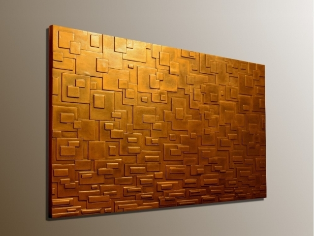 Stylish Bronze Wall Art In Panel Large 3D Textured Decorations 4 Pertaining To Bronze Wall Art (Image 22 of 25)
