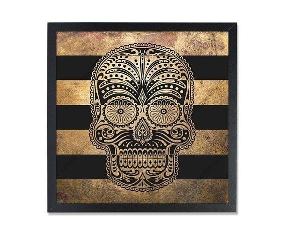 Sugar Skull Printable Art Print Gold Wall Decor Black Gold Wall Art With Black And Gold Wall Art (Image 23 of 25)