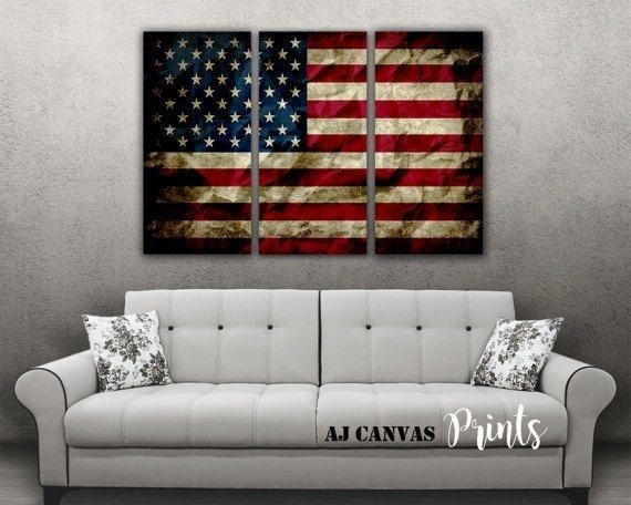 Summer Sale American Flag Wall Art, American Flag Print, Vintage inside Vintage American Flag Wall Art