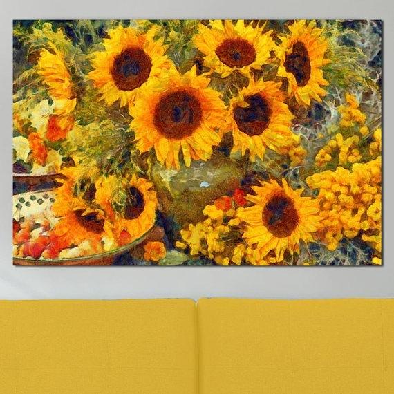 Sunflower Canvas Sunflower Painting Yellow Flower Canvas Sunflower In Sunflower Wall Art (View 20 of 25)
