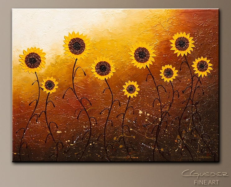 Sunflower Meadow – Abstract Art – Large Original Abstract Painting In Sunflower Wall Art (Image 14 of 25)