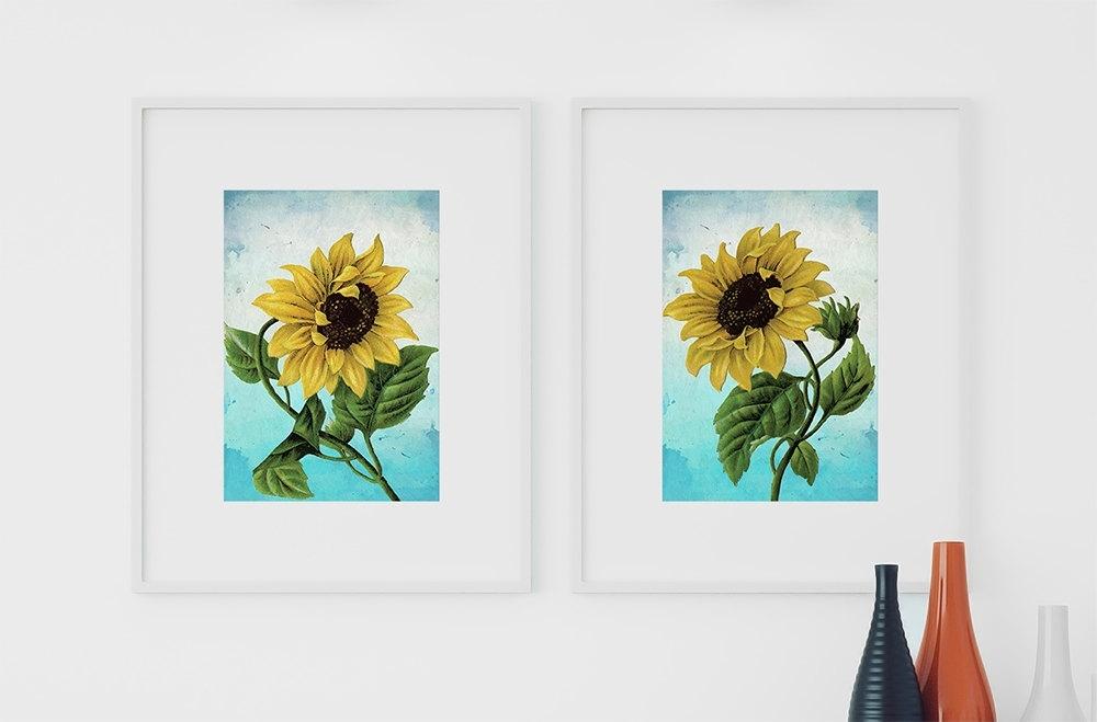 Sunflower Print Set Of Two Art Botanical Print Flower Sunflowers Regarding Sunflower Wall Art (Image 15 of 25)