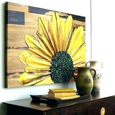 Sunflower Wall Art Metal Sunflower Kitchen Wall Art – Ronseal Regarding Sunflower Wall Art (Image 19 of 25)
