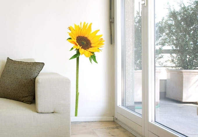 Sunflower Wall Decal – Beautiful Floral Home Decor Within Sunflower Wall Art (Image 22 of 25)