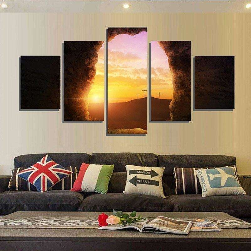 Sunrise From The Tomb Of Jesus Wall Art Multi Panel Canvas – Mighty Throughout Multi Panel Wall Art (Image 9 of 10)