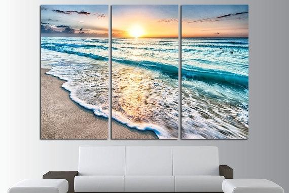 Sunset Beach Wall Fancy Ocean Wall Art – Wall Decoration Ideas Inside Ocean Wall Art (View 8 of 25)