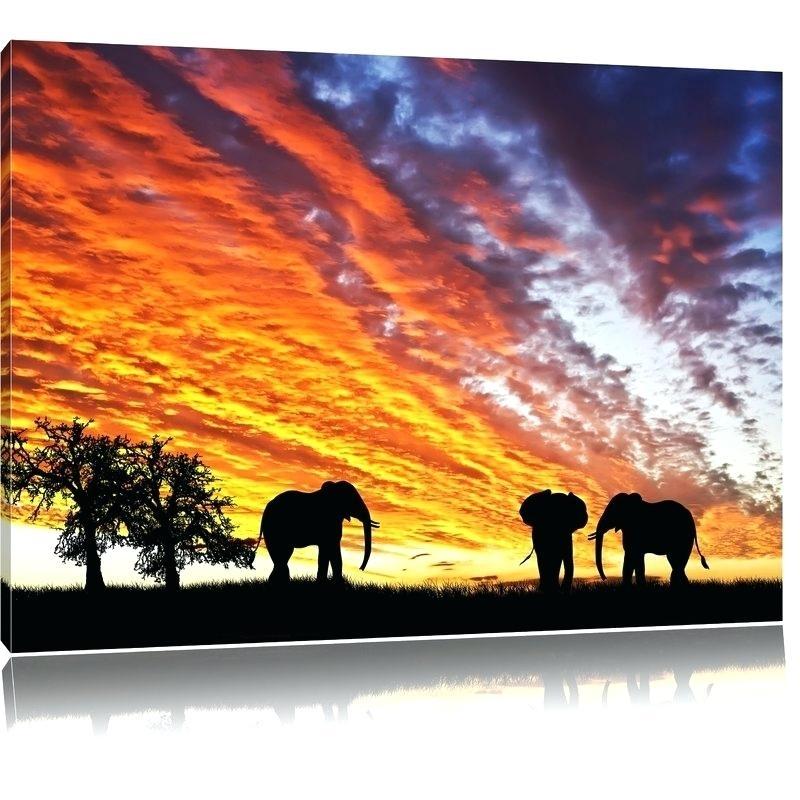 Sunset Wall Art Elephants In The Desert At Sunset Wall Art On Canvas Inside Orange Wall Art (Image 23 of 25)
