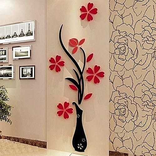 Sunweb 1 Pack 3D Diy Floral Wall Decor Stickers Wall Art Home Living With Floral Wall Art (View 16 of 20)