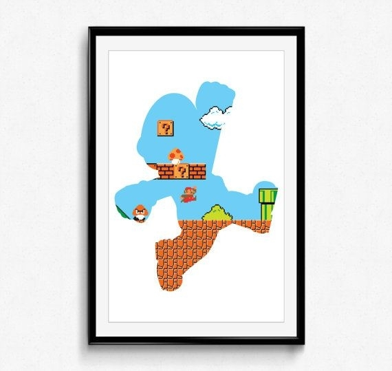 Super Mario Bros - 8 Bit Mario - Video Game Print, Wall Art for Nintendo Wall Art