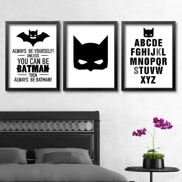 Superhero Batman Wall Art, Modern Poster Canvas Printings Wall Art With Regard To Batman Wall Art (View 2 of 20)