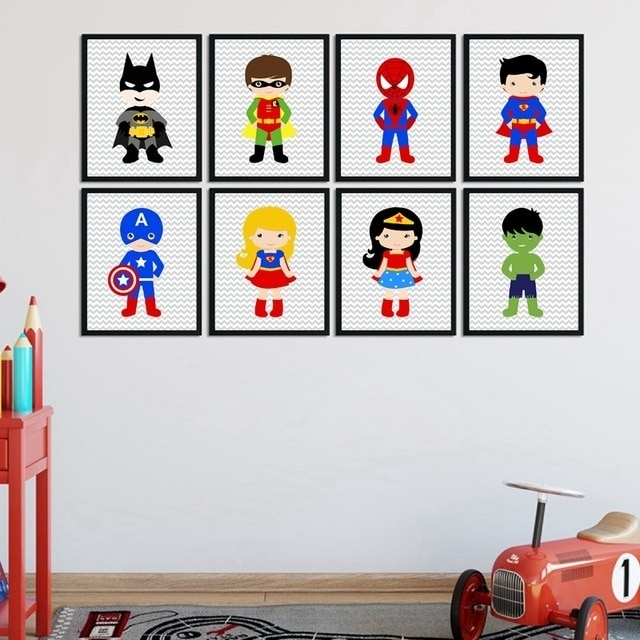 Superhero Wall Art Canvas Print And Poster Boys Bedroom Decor Within Superhero Wall Art (Image 10 of 20)