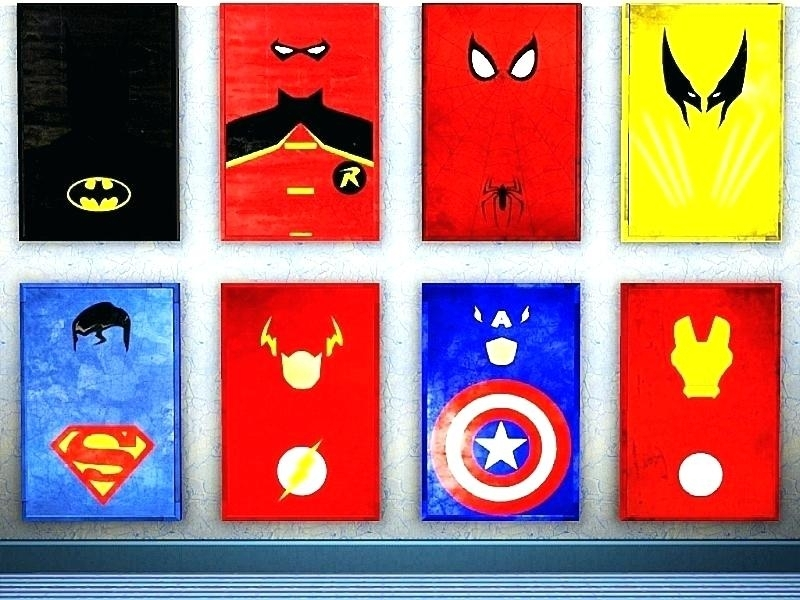 Superhero Wall Decor Set Of 8 Superhero Wall Art Decor Superman Within Superhero Wall Art (Image 14 of 20)
