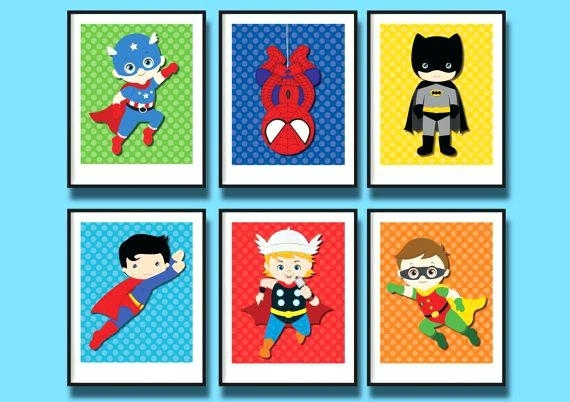 Superhero Wall Decoration Superhero Nursery Art Prints Wall Decor Within Superhero Wall Art (Image 15 of 20)