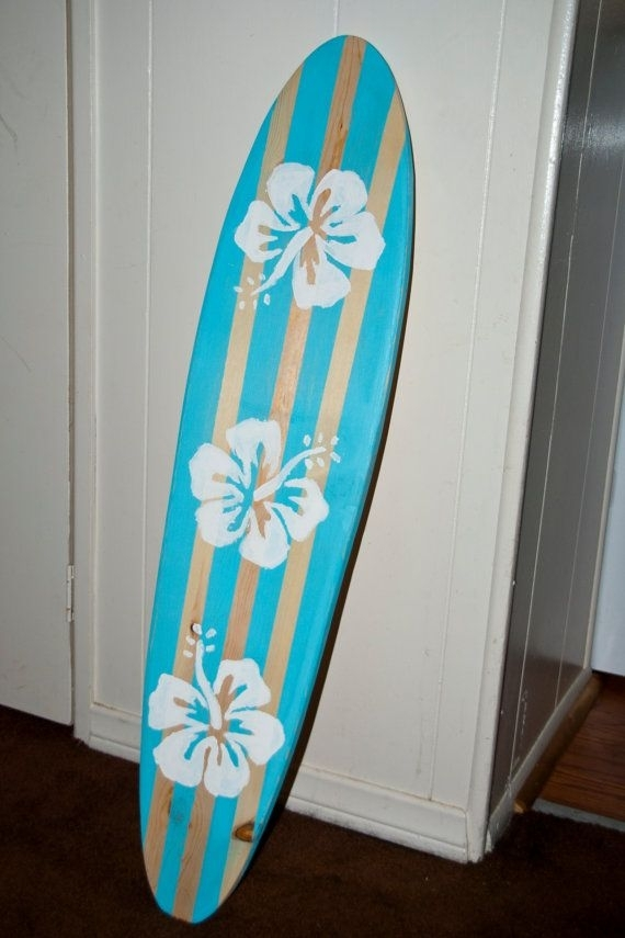 Surfboard Wall Art – Vintage / Light Blue /hibiscus Flower Surf Pertaining To Surfboard Wall Art (Image 12 of 25)