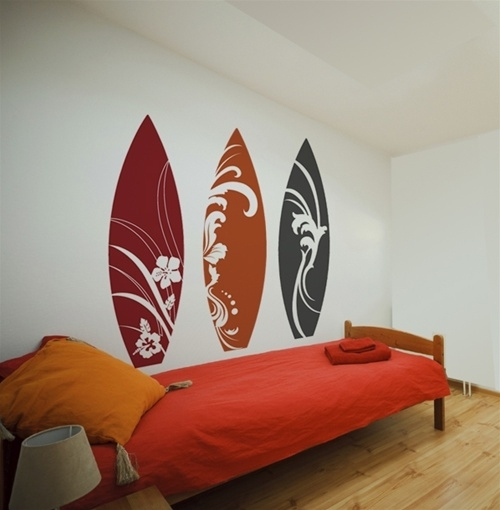 Surfboard Wall Decals Stickers Inside Surfboard Wall Art (View 9 of 25)