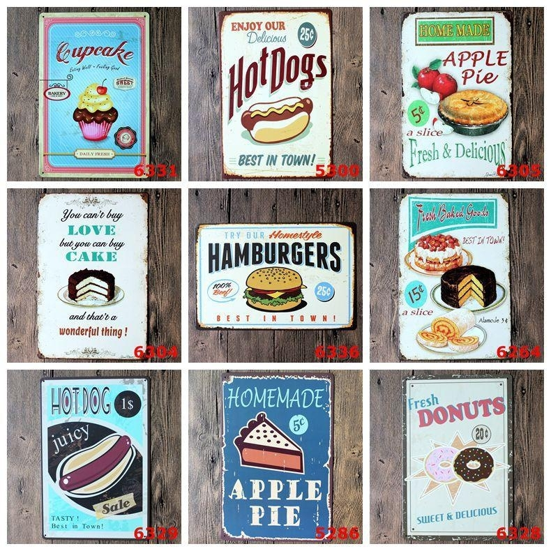 Sweet Cupcake Tin Signs Vintage Wall Art Cake Store Decor Retro For Vintage Wall Art (View 1 of 10)