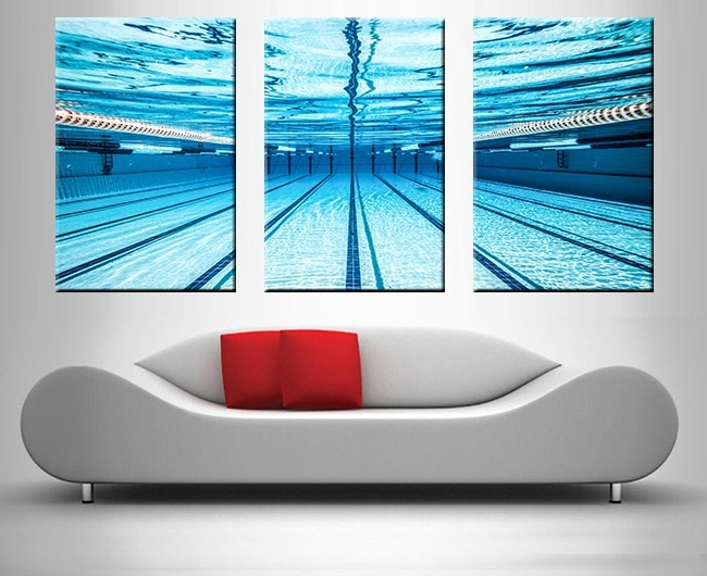 Swimming Pool Underwater Triptych Prints On Canvas Intended For Triptych Wall Art (Image 13 of 25)