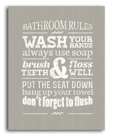 Take A Look At This Gray Bathroom Rules Wall Artlaila's On Throughout Bathroom Rules Wall Art (Image 25 of 25)
