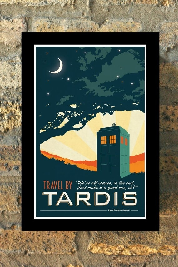 Tardis Doctor Who Travel Poster Vintage Print Geekery Wall Art | Etsy Intended For Doctor Who Wall Art (Image 8 of 10)