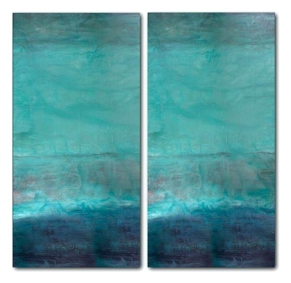 Teal Canvas Wall Art Oversized Abstract 2 Piece Flower – Frivgame (View 21 of 25)