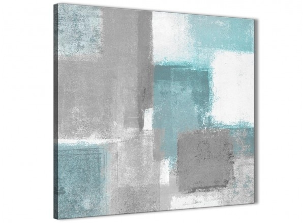 Teal Grey Painting Abstract Dining Room Canvas Pictures Decorations intended for Gray Canvas Wall Art