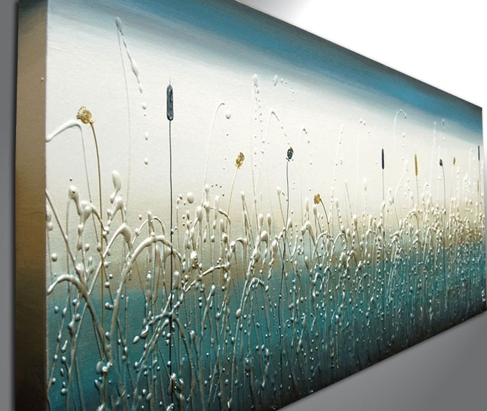 Teal Panoramic – The Sculpture Room With Teal Wall Art (Image 9 of 10)