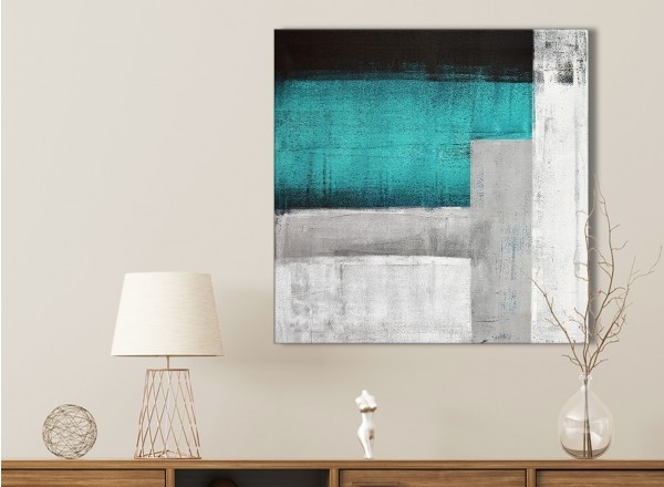 Teal Turquoise Grey Painting Bathroom Canvas Wall Art Accessories Within Turquoise Wall Art (Image 9 of 20)