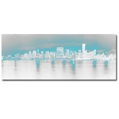 Teal Wall Art On Canvas. Modern New York Artwork (View 6 of 10)