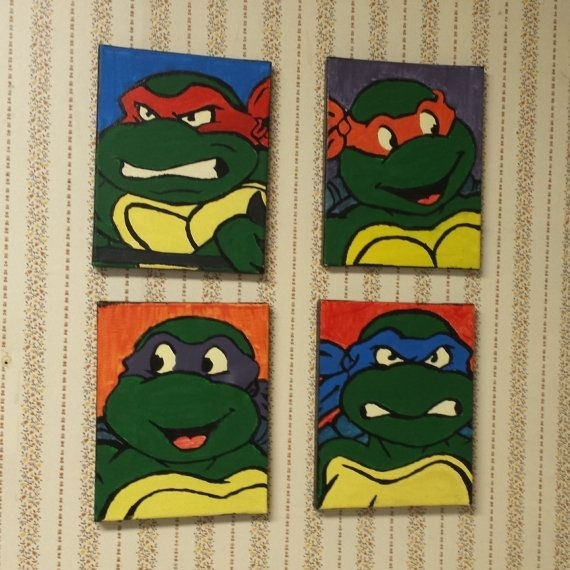 Teenage Mutant Ninja Turtle Wall Decorquirkybijoux On Etsy Pertaining To Ninja Turtle Wall Art (Image 20 of 25)