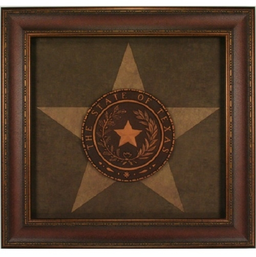 Texas Seal Western Art Rustic Wall Decor Framed Lone Star State Inside Texas Wall Art (Image 12 of 25)