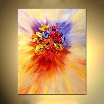 Texture Modern Abstract Flower Wall Art Acrylic Canvas Oil Painting Inside Modern Abstract Painting Wall Art (Image 22 of 25)